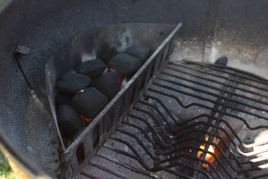 One side of the coals in the Webber.